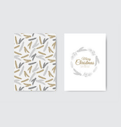 Merry christmas greeting card with new years tree vector