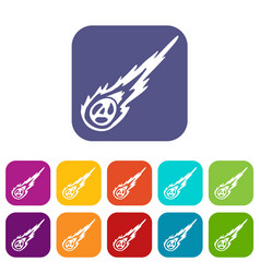 Meteorite icons set flat vector
