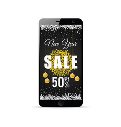mobile phone with new year sale gold on it vector image