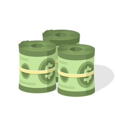 money roll pile or cash stack heap and vector image