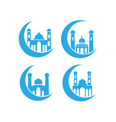 Mosque icon design set bundle template isolated vector