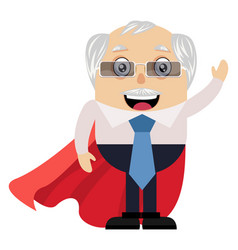old man with red cape on white background vector image