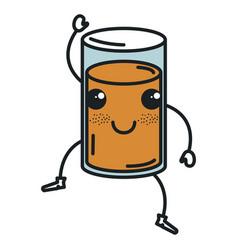 Orange juice glass kawaii character vector