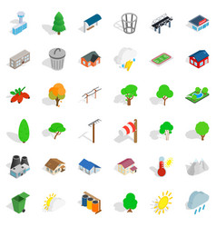 Park landscape icons set isometric style vector
