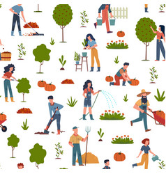 People gardening seamless pattern with farmers vector