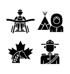 People of canada black glyph icons set on white vector