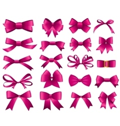 Pink Ribbon and Bow Set for Your Design vector