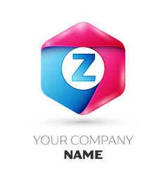 Realistic letter z in colorful hexagonal vector