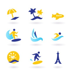 retro summer and travel icons vector image