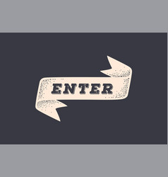 Ribbon enter old school banner with text vector