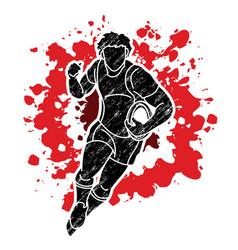 Rugplayer action cartoon sport graphic vector