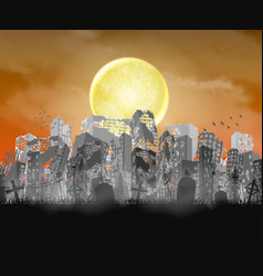 Ruined city building silhouette with moon and red vector