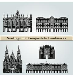 Santiago de Compostela landmarks and monuments vector image