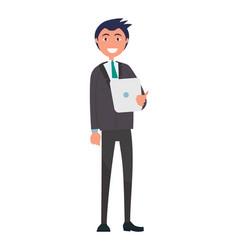 self-confident man in elegant suit vector image
