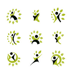 set excited abstract person with raised hands up vector image