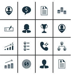 set of 16 management icons includes tree vector image
