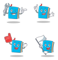 Set of blue book character with mechanic foam vector