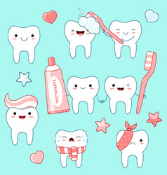 set of cute teeth icons in kawaii style vector image
