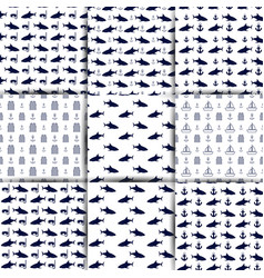 set of nautical seamless backgrounds vector image
