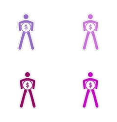 Set of stylish sticker on paper person with coin vector