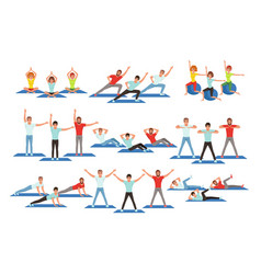 set people working out in gym young girls and vector image