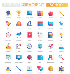 set trendy flat gradient school vector image