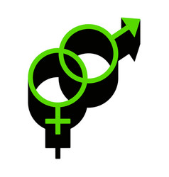 sex symbol sign green 3d icon with black vector image