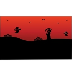 Silhouette of Halloween warlock ghost pumpkins vector image