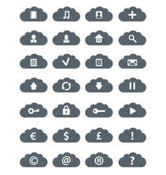 Simple Flat Clouds Icon Set vector image