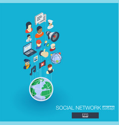 Society integrated 3d web icons growth vector