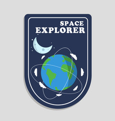 space explorer orbits around earth moon background vector image