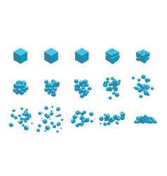 stages destruction a cube an explosion vector image