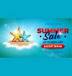 summer sale design with starfish on tropical vector image