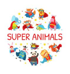 superhero animals round shape cute baby vector image