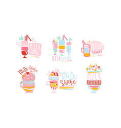 Sweet milkshake labels original design set vector