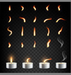 Tea candle and flame set isolated vector