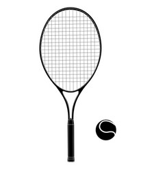 tennis racket with a ball flat black drawing vector image