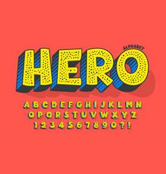 trendy 3d comical design colorful alphabet vector image