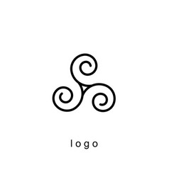 Triple spiral logo template vector