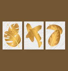 tropical golden leaves set for social media vector image
