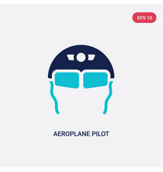 Two color aeroplane pilot glasses icon from vector