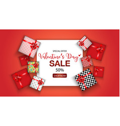 valentiness day sale promo with gift box vector image