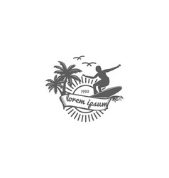 vintage hipster sunset palm coconut trees vector image