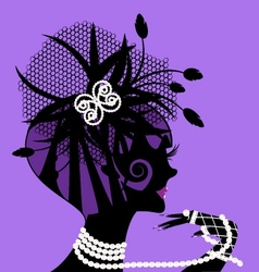 Violet girl and pearls vector