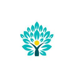 wellness people tree logo concept people health vector image