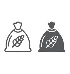 wheat bag line and glyph icon grain and farm vector image