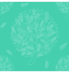 White Tree on Green Background vector image