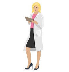 Woman doctor in white coat with folder in hand vector