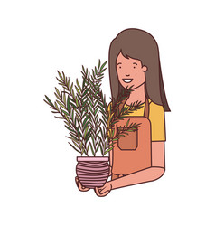 Woman with houseplant avatar character vector