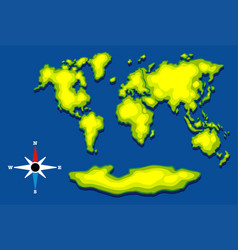 worldmap with green land and blue ocean vector image